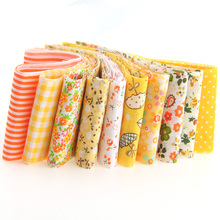 Cotton Fabric Strips Yellow Series 100*5cm 10pcs Jelly Roll Sewing Textile Patchwork Stofa For Doll Dress Hair Clip TX-1-3(China)