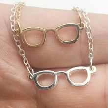 2016 new style  Geek Chic Eye Glasses Necklace Book Lover Gift Teen Jewelry Stainless Steel Collares Mujer Gold/ Silver gift