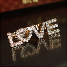 2015 New Hot !!! Fashion Fine Jewelry Gold Full Rhinestone Individuality Alphabet LOVE Bicyclic Wedding Rings For Women R-40
