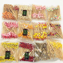 100pcs! New Chinese bamboo craft fruit fireworks toothpick interesting dessert cocktail sign wedding decorative party supplies(China)