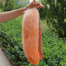Oversized Fox Fur Tail Keychain Fox tail Pendant Imported Real Fox Monster Fur Bag Pom Pom Charm Pendant Jewelry Keychain(China)