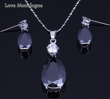 Love Monologue Classic Water Drop Black Imitation Onyx Stud Earrings Pendant Necklace Fashion Silver Color Jewelry Sets H0066