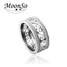 Moonso Real 925 sterling silver ring Vintage Antique AAA Zircon Ring for women jewelry CZ Diamond Engagement WeddingT0879
