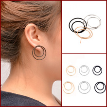 silver gold color hoop earrings for women small earrings circle big black hoop earings orecchini cerchio round huggie earrings