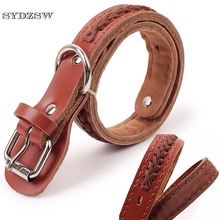 SYDZSW Pet Supplies Dog Leather Collar for Large Dogs Husky Shepherd Labrador Leads Top Grade Design Knited Big Dog Collar Brown