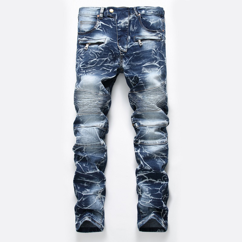 2019 New Brand Mens  Fashion Slim Jeans Skinny Moto Biker Casual Jeans Straight Motorcycle Jeans Men Destroyed Denim Trousers