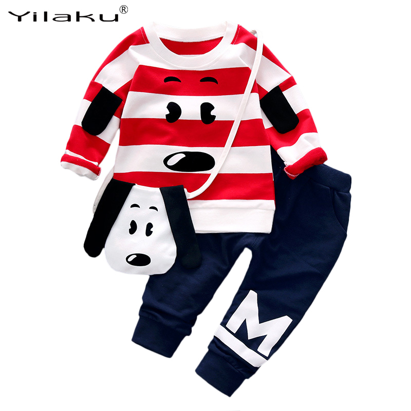 New Autumn Boys Girls Clothing Sets Children Cartoon Suits 3PCS Kids Clothes Set Long Sleeve Top+Pants+Bag Baby Clothes Suit<br><br>Aliexpress