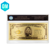 DM 5 Dollar 24k Gold Banknote Hot Sale Real US Paper Money Gold Foil Fake Money Art Gifts with PVC Case