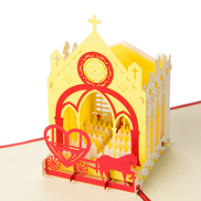 (10 pieces/lot)Cartoon Series Romantic Wedding Church Cards Handmade Kirigami & Origami 3D Pop UP Greeting Cards Free Shipping