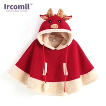 lrcomll 2017 New High Quality Children Christmas Deer Girls Cloak Child Outwear Girl Cape Winter Thick Coat Jacket babyClothes(China)