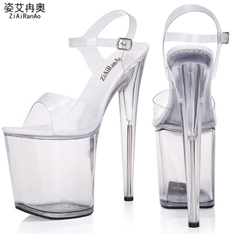 ZIAIRANAO Summer Sandals Platform Shoes Woman Transparent Crystal Women Pumps 13 15 17CM 20CM Nightclub Sexy High Heels Big Size<br>