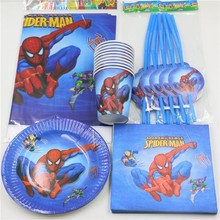 51pcs\lot Spiderman Plates Birthday Kids Favors Gifts Party Decoration Tablecover Bags Favors Napkins Baby Shower Cups Supplies