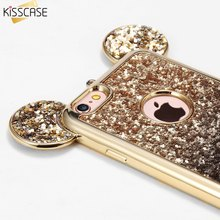KISSCASE Lovely 3D Mickey Mouse Ears Case For iPhone 7Plus 7 6S Plus Bling Glitter Silicone Case Back Cover For Iphone 6 6S Case