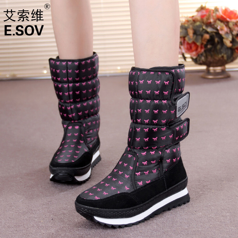 Winter womens shoes slip-resistant waterproof knee-high snow boots plus velvet thickening thermal cotton shoes snow boots<br><br>Aliexpress