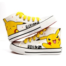 Children Canvas Shoes for Girls Boys Painting Canvas Shoes Kids Trainers All Baby Sneakers Pikachu Figure Pokemon Star Shoes