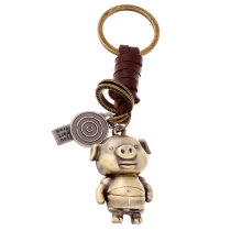 Bronze Plated Cartoon Pig Keychain Bag Keyfobs Llaveros Charm Car Key Chain Ring Holder Novelty Jewelry Souvenirs Gift FY024