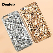Luxury 3D Diamond Grid Flower Electroplate Rhinestone Capa Soft TPU Phone Cases Cover For iPhone X 8 7 7Plus 6 6G 6S 6Plus 5.5(China)