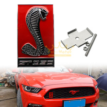 Car 3D Red Cobra GT350 Front Hood Grille Emblem Sticker for Ford Mustang Shelby (0244)