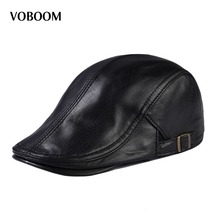 Buy VOBOOM Genuine Leather Spring Summer Winter Autumn Men Women Ivy Flat Cap Adjustable Beret Cabbie Hat 122 for $29.99 in AliExpress store