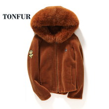 2017 Hoody Style Top Fashion New Real Sheep Fur Jacket With Natural Genuine Fox Fur Collar Women Coat Casual Waistcoat TSR147(China)
