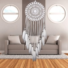 Dream Catcher Home Decor White Feather Dreamcatcher Wind Chimes Indian Style Religious Mascot Car or Wall Decoration Hot Sale