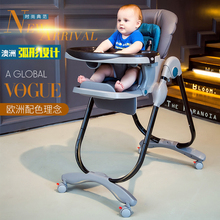 Portable Baby Highchair Seat 7 Height Positions and 3 Recline Levels High Chair Folding Dinner Table Feeding Highchair(China)
