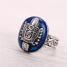 HSIC NEW Vampire Diaries Antique Silver Plated Rings Salvatore Stefan 's Finger Family Crest Ring Lapis Lazuli Ellipse Ring(China)