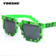 YOOSKE Minecraft Glasses 8 bit Pixel Women Men Sunglasses Female Male Mosaic Sun Glasses kids Boys Girls  Vintage