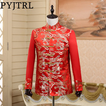 PYJTRL Chinese Tunic Collar Suit Jacket Wedding Red Tang Costume Full Bright Brocade Embroidery Gold Dragon Men Blazer Designs