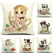 1 Pcs Baby Cat Pattern Cotton Linen Throw Pillow Cushion Cover Seat Car Home Sofa Bed Decorative Pillowcase funda cojin 40159