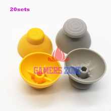 20sets Gray & Yellow Analog Thumbsticks Caps replacement For Nintendo Gamecube Controller