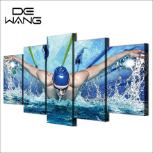 5 Painting Canvas Wall Art  Swimming Pool Fitness Gym Paintings Sport Modern For Living Room Wall Pictures Kitchen Paintings