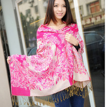 New Fashion Brand Printing Flower Winter Scarf Women Girl Warm Soft Tassel Scarf Wrap Shawl Scarves Lovers Christmas Gift