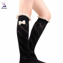 DOUDOULU Women Lady Lace Rhombus Bowknot Over Knee Socks Leg Boots Warmer Cover Snowflaker Drop shipping