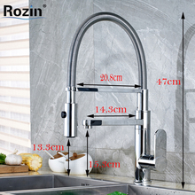 Luxury Two Swivel Spout Single Handle One Hole Kitchen Water Taps with Hot and Cold Water Kitchen Mixer Faucet