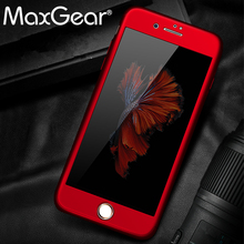 MaxGear 360 Degree Full Cover Case For iPhone 6 6s 7 Plus 5 5s Case For Apple iphone 8 8 Plus Protection Cases + Glass(China)