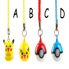 1PCS Cartoon Pokemon Pikachu Elf Ball Cell Phone Strap JINGLE BELLS Dangle Charms Key chains Key ring Trendy Children Gifts(China)