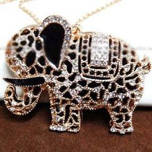 Elephant Necklace - Hot Sale Lovely Crystal Two Parts Thailand Elephant Long Fashion Sweater Chain Necklace #1510597(China)