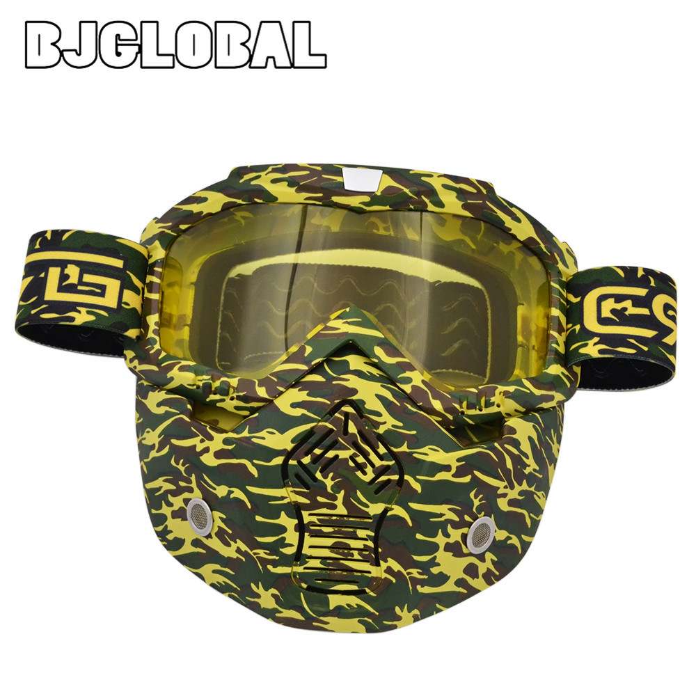 BJGLOBAL Motocross Goggles Glasses Face Dust Mask With Detachable Motorcycle Oculos Gafas And Mouth Filter For Open Face Vintage