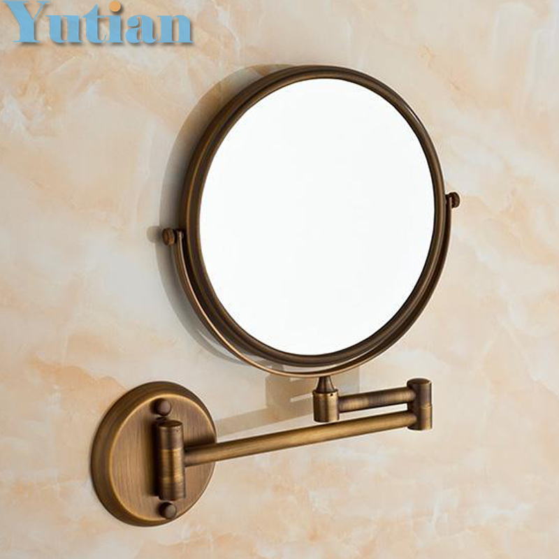 Antique 8 Double Side Bathroom Folding Brass Shave Makeup Mirror Wall Mounted Extend with Arm Round 1x3x Magnifying YT-9102-F<br>