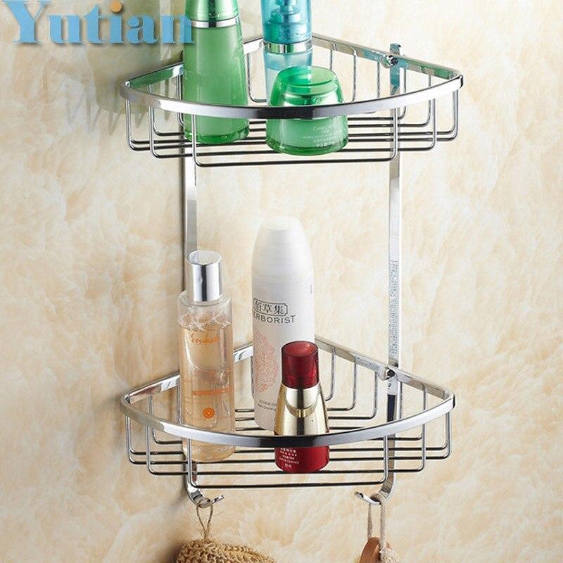 Free Shipping Wall Mounted chrome finish brass Bathroom Shower shampoo Shelf  Basket Holder Fashion Double Layer YT-7010<br>