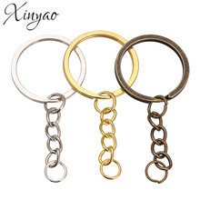 XINYAO 30 pcs/lot Key Ring Key Chain Rhodium Gold Bronze Color 60mm Long Round Split Keychain Keyrings Jewelry Making Wholesale