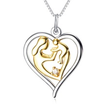 925 Sterling Silver Mother's Love Jewelry Gold Color Mom Hold Baby Family Heart Pendant Necklace Chain(China)