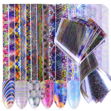 16pcs Holographic Sticker Nails Foils Bubble Stripe Starry Nail Art DIY Adhesive Tips Polish Gel Designs Nail Decal Set SCH115(China)