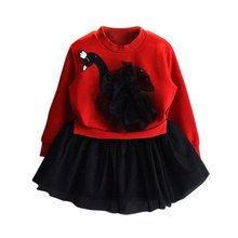 QQH Spring Red Swan Princess Dress Baby Girls Lace Tutu Layere Dresses Long Sleeve Tulle Swan Dress