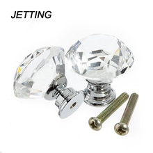 JETTING 1pack/ 10Pcs Crystal Glass 30mm Diamond Shape Knob Cupboard Drawer Pull Handle Brand New(China)