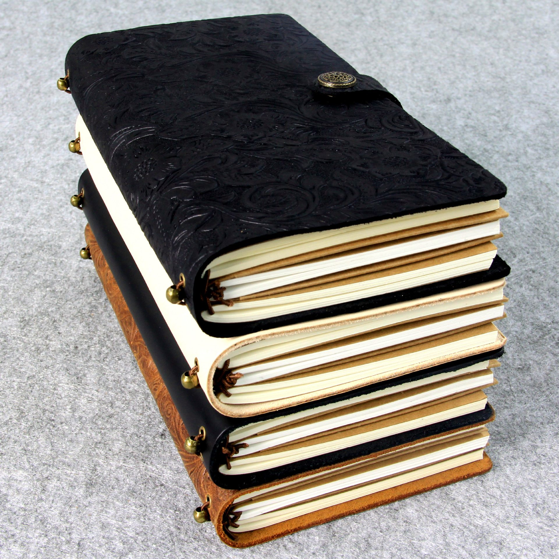 100% Genuine Leather Travelers Notebook Diary Journal Vintage Handmade Cowhide gift Business Office Notebook 13x22cm<br>
