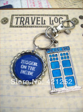 12pcs/lot Doctor who Tardis Blue Police Box Bigger on the Inside, Blue Police Box Key Chain, Whovian Key Ring or Backpack Clip