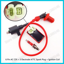 Red 6 Pin Round AC CDI Racing Ignition Coil Box 3 Electrode Spark Plug A7TC For GY6 50cc 125cc 150cc ATV Go Kart Moped Scooter