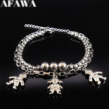 2017 Double Layer Stainless Steel Bracelets Women Silver Color Two Girl One Boys Famliy Bracelet Jewelry acero inoxidable B17708(China)